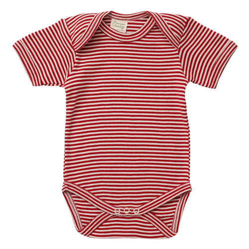Nature's Basics Short Sleeve Bodysuit - Red Stripes