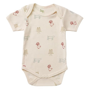 Nature's Basics Short Sleeve Bodysuit - Birds/Sheep