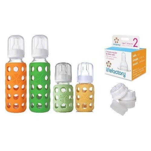 Lifefactory Lifefactory Glass Baby Bottles 4 Pack Starter Kit