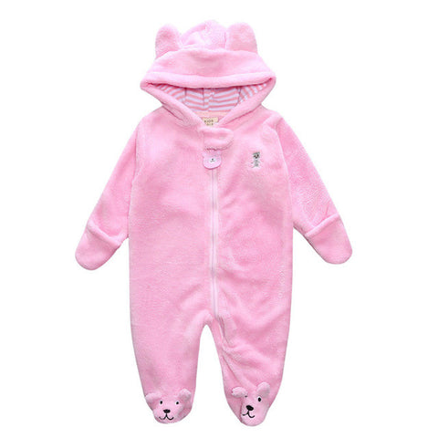 Coral Fleece Hooded Jumpsuit