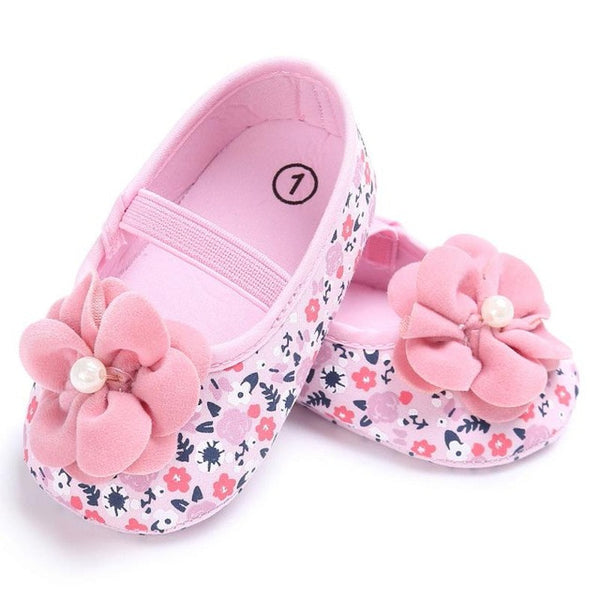 Pink Sweet Newborn Baby Infant Toddler First Walkers Big Flower Shoes Princess Ballet Dress Soft Soled Anti-slip Footwear Shoes