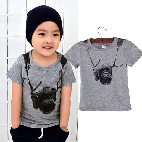 Summer Cotton baby t-shirts Boy Kids Camera Short Sleeve Cartoon Tops Children O-neck T Shirt Casual Gray Tees Clothes 1-6Y