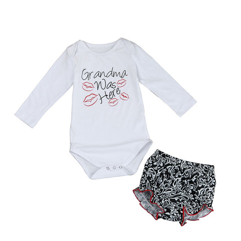 Newborn Baby Girls Flower Letter Print Romper Bottoms 2pcs Outfit Set