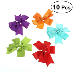 10Pcs Baby Girls Hair Clips Ribbon Boutique