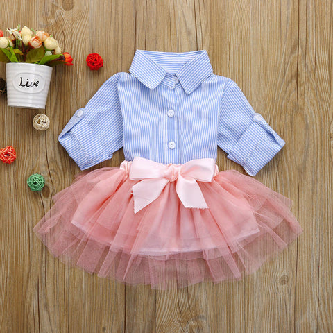 2 Pcs Bow Striped Outfits