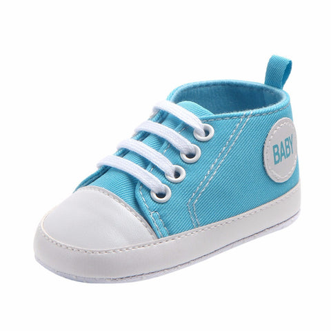 Newborn Infant Baby Boys Girls Solid Canvas Anti-slip Soft Shoes Sneaker