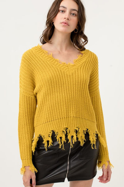 Mustard Oversized Distressed Sweater