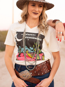 Desert Dreamland V Neck Graphic Tee