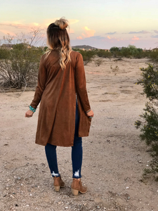 Suede Long Sleeve Duster