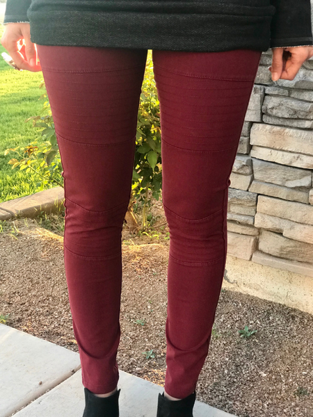 Burgundy Moto Jeggings