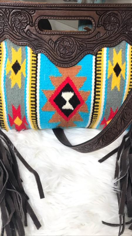 Saddle Blanket Purse with Leather Handle