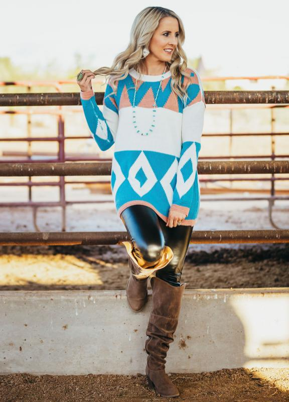 Aztec Knit Color Block Sweater
