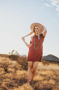 Rust Scallop Hem Dress