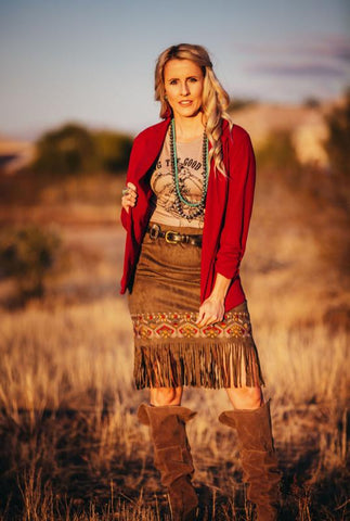 Embroidered Suede Fringe Skirt
