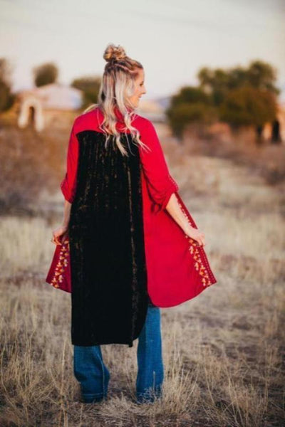Crushed Velvet Embroidered Duster & Dress