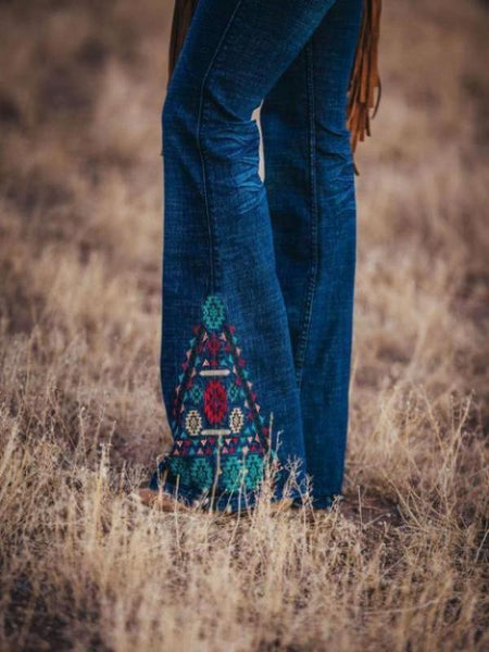 Embroidered Dark Wash Cowgirl Tuff Jeans