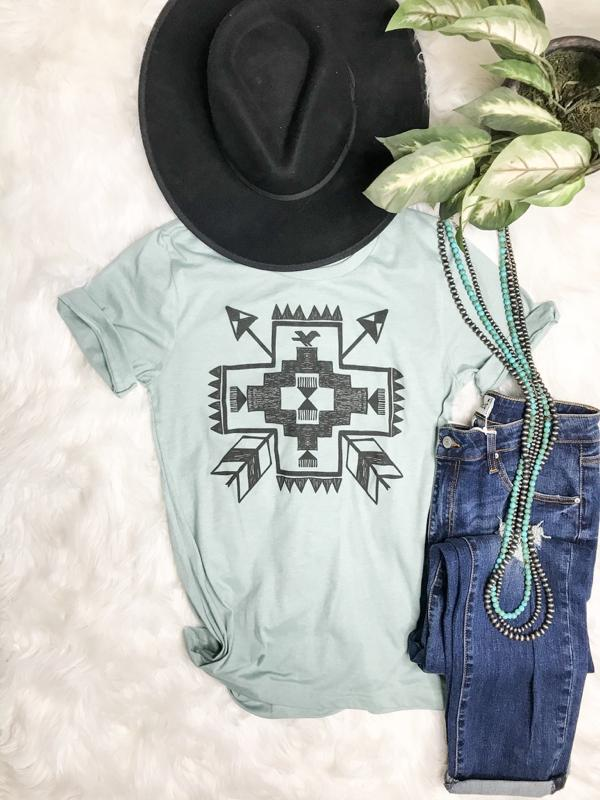 Mint Aztec Graphic Tee