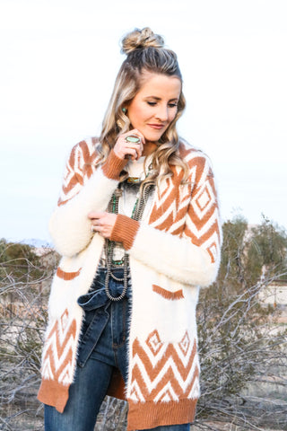 Aztec Mohair Cardigan Sweater