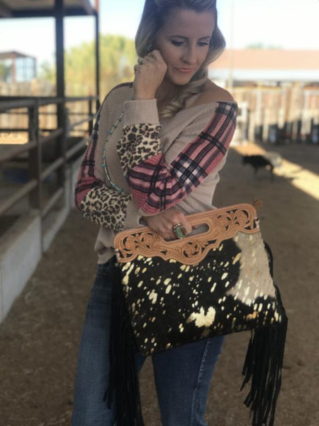 Acid Wash Cowhide Purse with Fringe