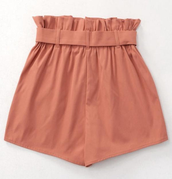 Rust Color Paperbag shorts