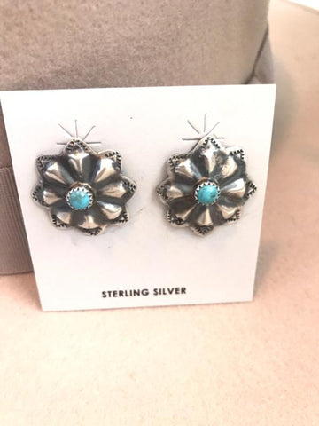 Sterling Silver Concho Post Earrings