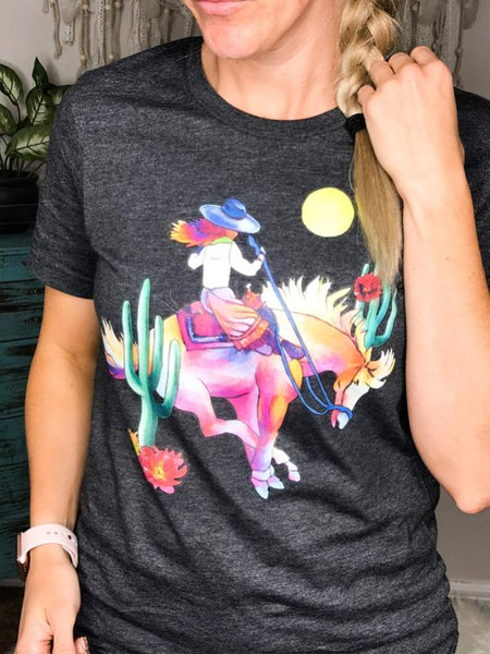 Water Color Cowgirl Graphic Tee