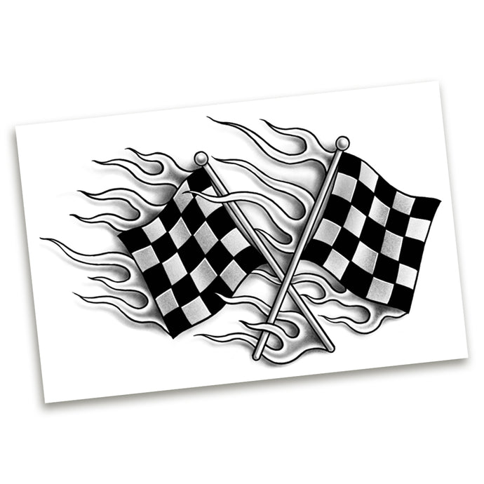 Checker Flags Temp Tattoo