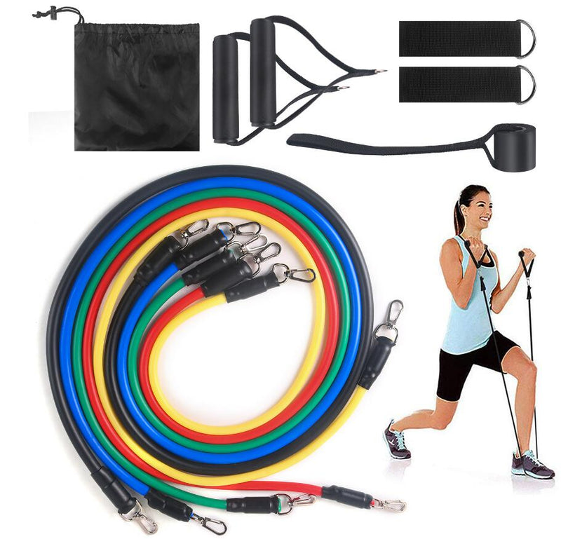 Resistance Bands 11 PCS Fitness loop ropes Tubes pull up Set Gym Equipment Exercise Handles trainer latex Yoga