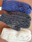 Cable Mittens (lined) - navy blue, white, charcoal