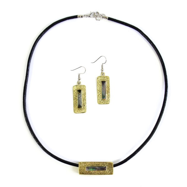 Stone Bar Necklace/Earring set - Small Things Fair Trade