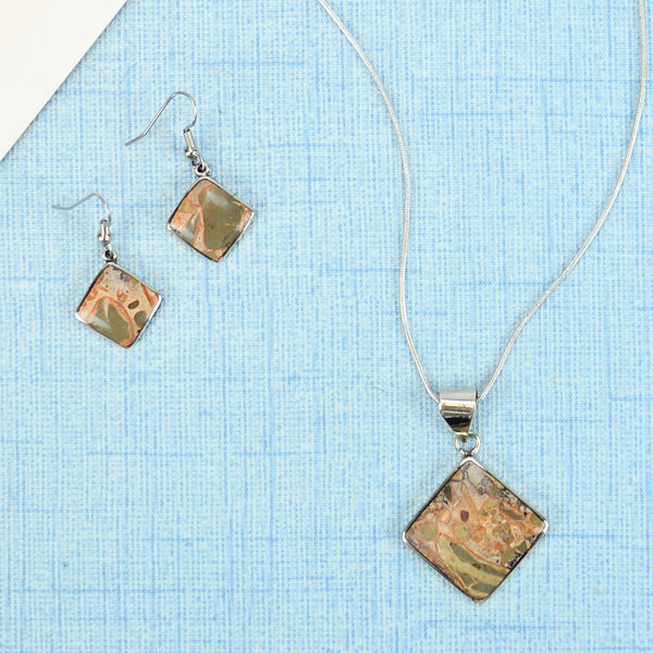 Stone Solo Necklace/Earring set - Small Things Fair Trade
