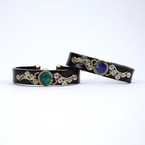 Cursive Leather Bracelet - Small Things Fair Trade