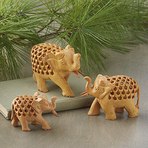 Double Carved Wood Elephant Family - Small Things Fair Trade