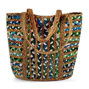 Takewaway Tote - Greens and Blues - Small Things Fair Trade