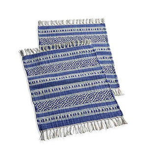 Blue Kilim Placemats - Set of Two - Small Things Fair Trade