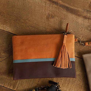 Signature Clutch - Tan Colorblock - Small Things Fair Trade