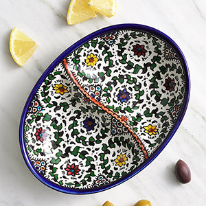 Blue West Bank Divided Dish - Small Things Fair Trade