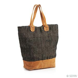 Black Herringbone Tote - Small Things Fair Trade