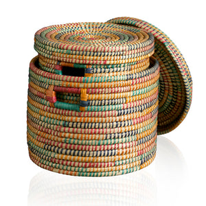 Round Basket - Rainbow - Medium (Bangladesh)