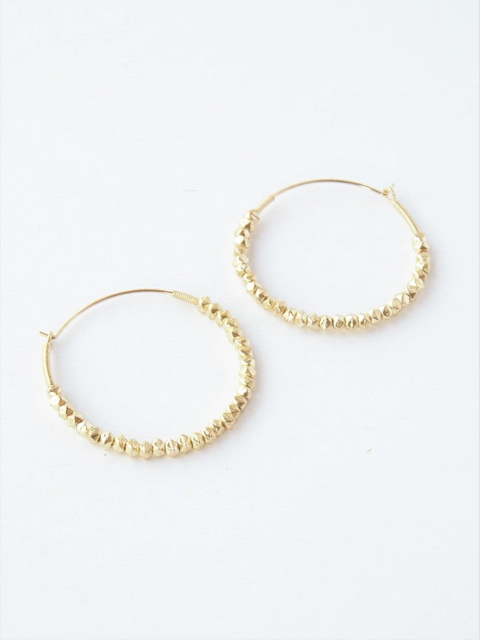 Beaded Hoops Earrings - Gold Tone - Small Things Fair Trade