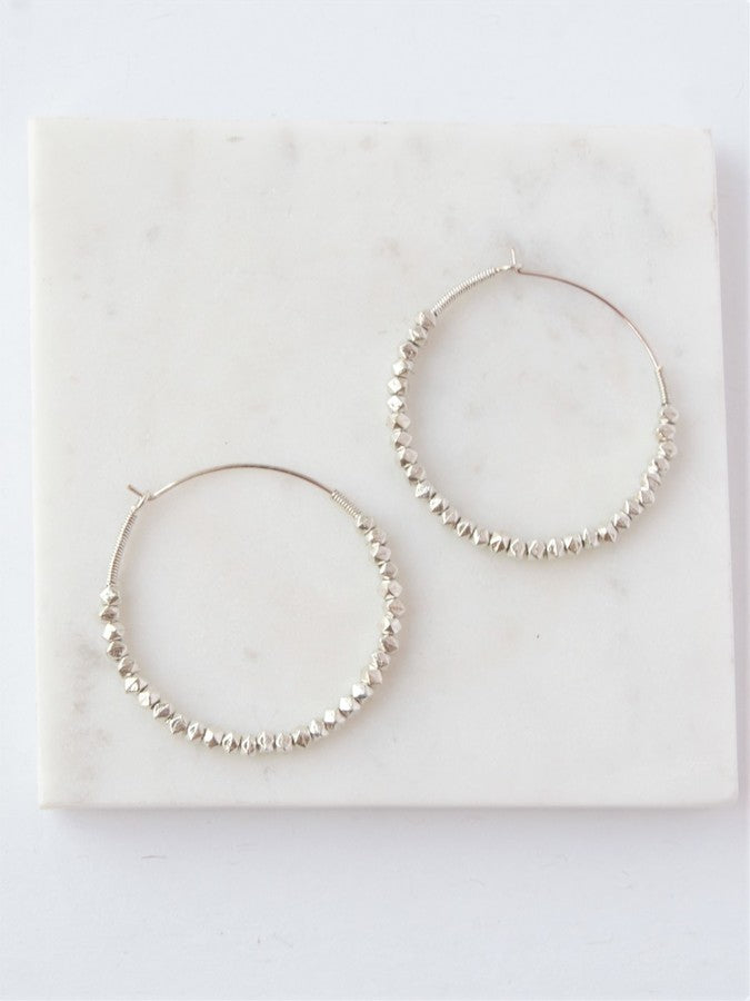 Beaded Hoops Earrings - Silver - Small Things Fair Trade