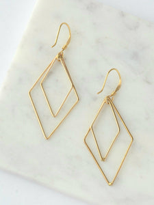 Rhombus Dangle Earrings - Gold - Small Things Fair Trade