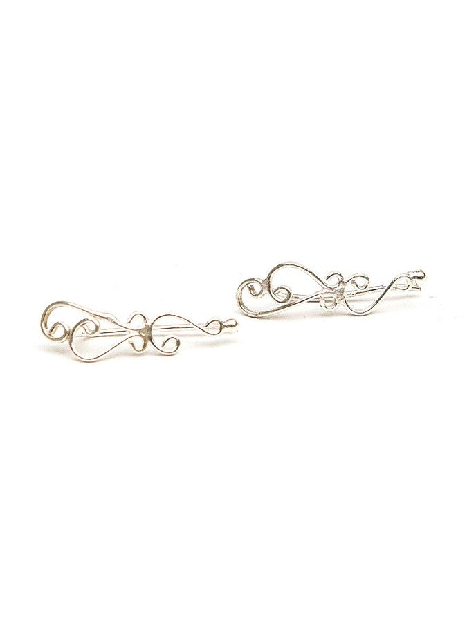 Swirly Ear Runner Earrings - Silver - Small Things Fair Trade
