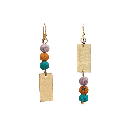 Asymmetric Kantha Earrings - Small Things Fair Trade