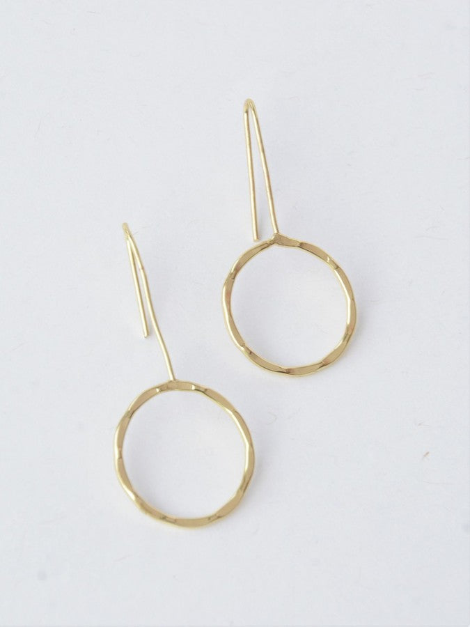 Full Moon Drop Earrings - gold - Small Things Fair Trade