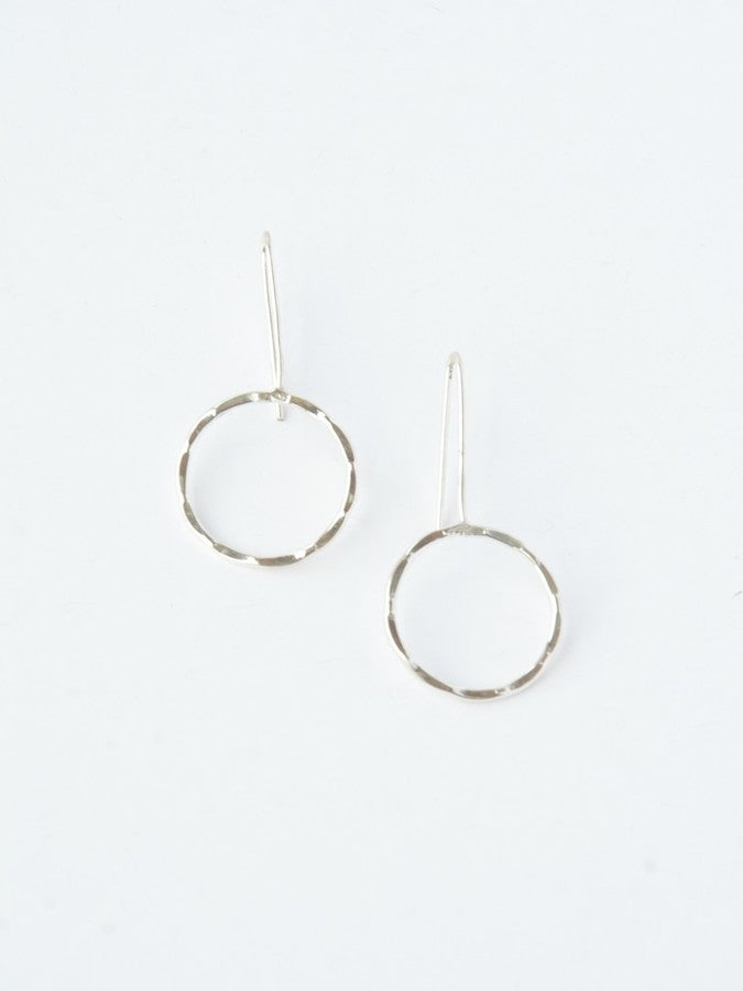 Full Moon Drop Earrings - silver - Small Things Fair Trade