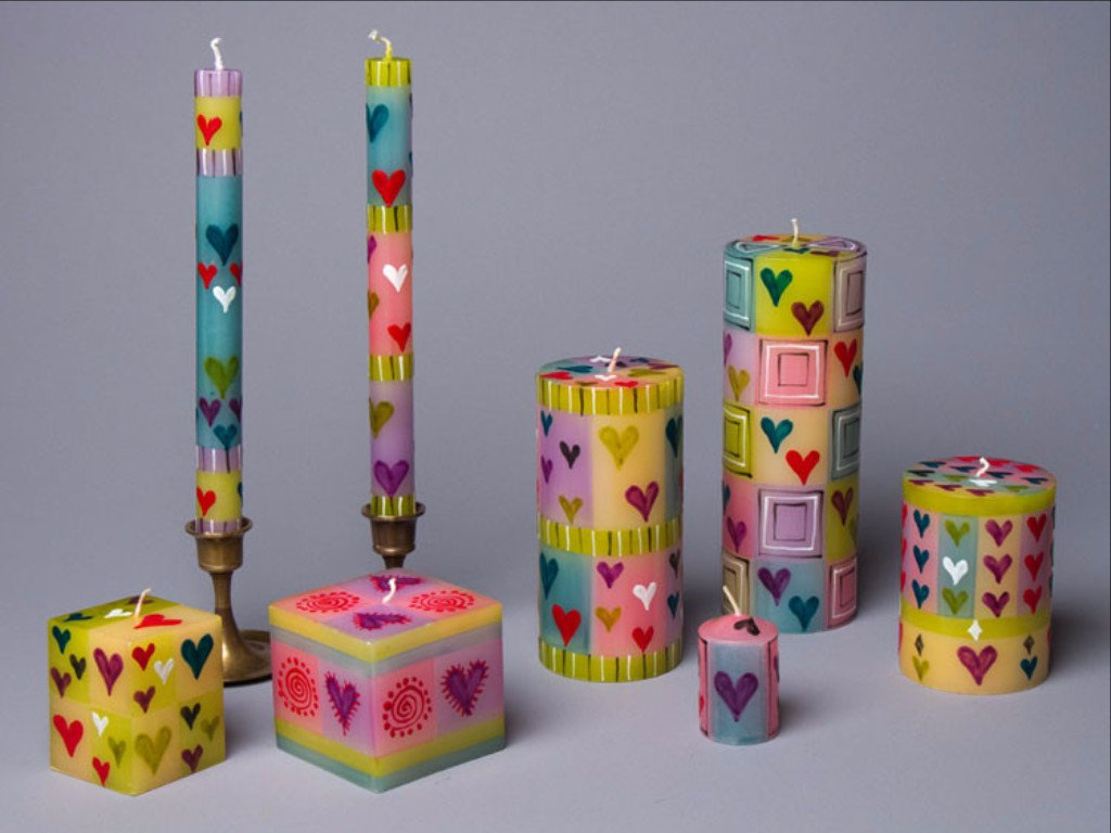 4 inch Pillar Candle - Various Color Patterns Available - Small Things Fair Trade
