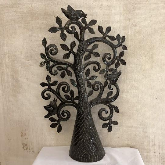 Whimsical Standing Tree Metal Sculpture