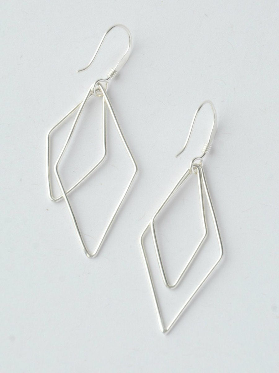 Rhombus Dangle Earrings - silver - Small Things Fair Trade