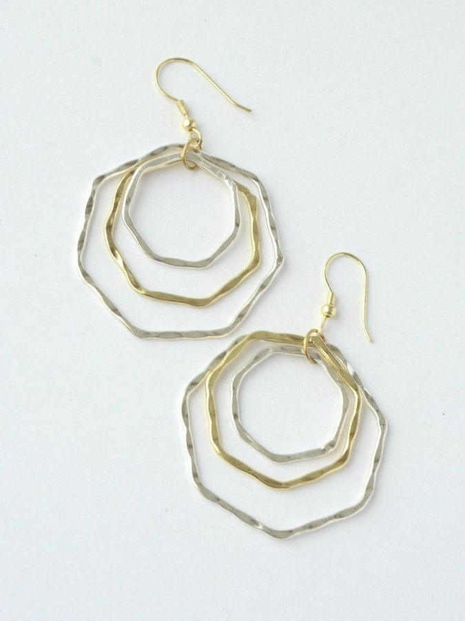 Layered Hexa Earrings - Small Things Fair Trade